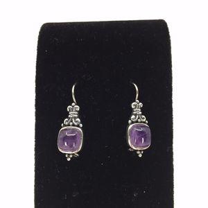 Cabochon Amethyst Sterling Silver Earrings